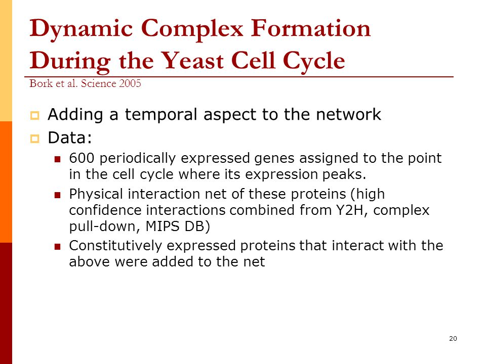 20 Dynamic Complex Formation During the Yeast Cell Cycle Bork et al.