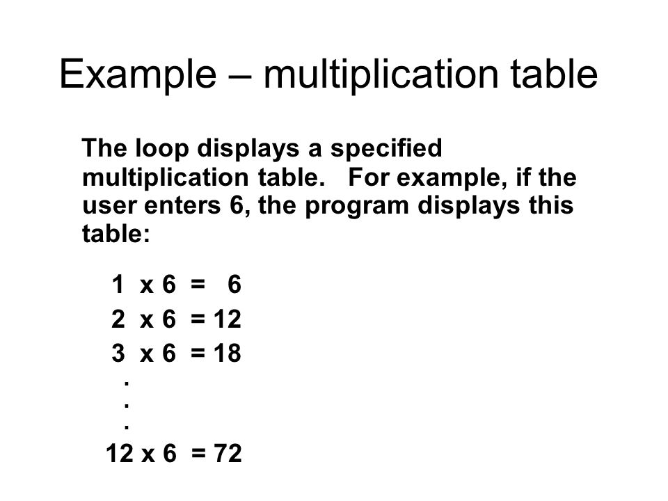 Example – multiplication table The loop displays a specified multiplication table.