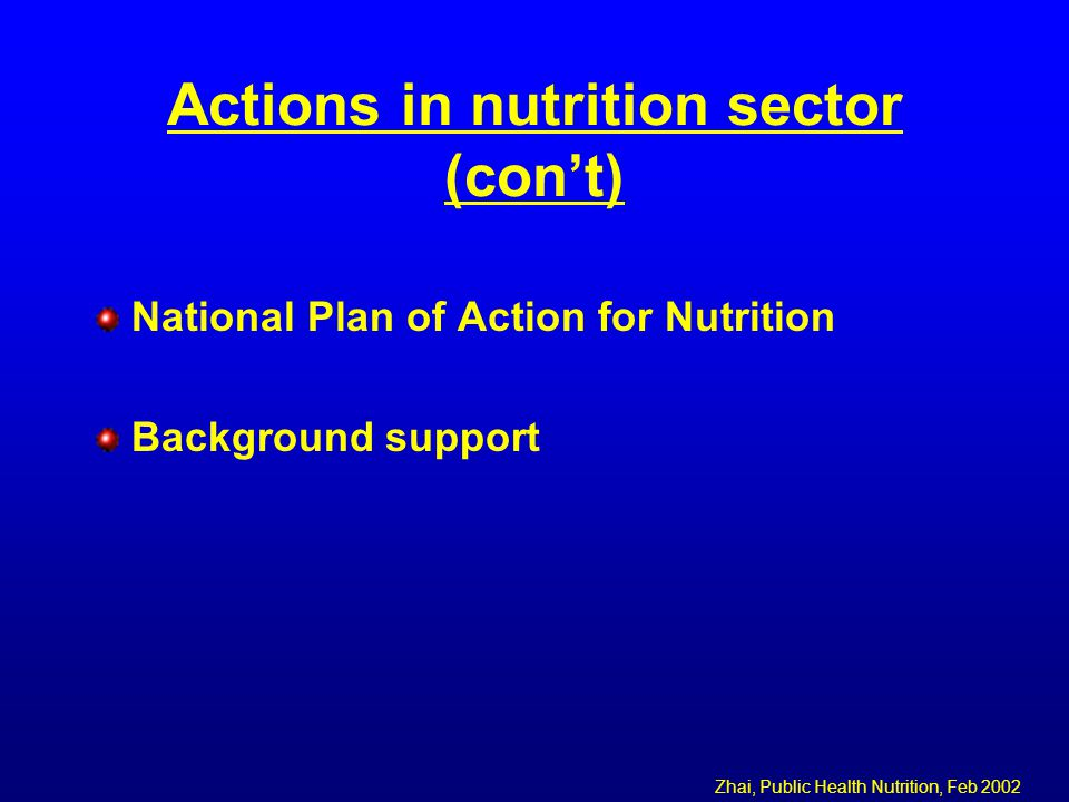 Actions in nutrition sector (con't) National Plan of Action for Nutrition Background support