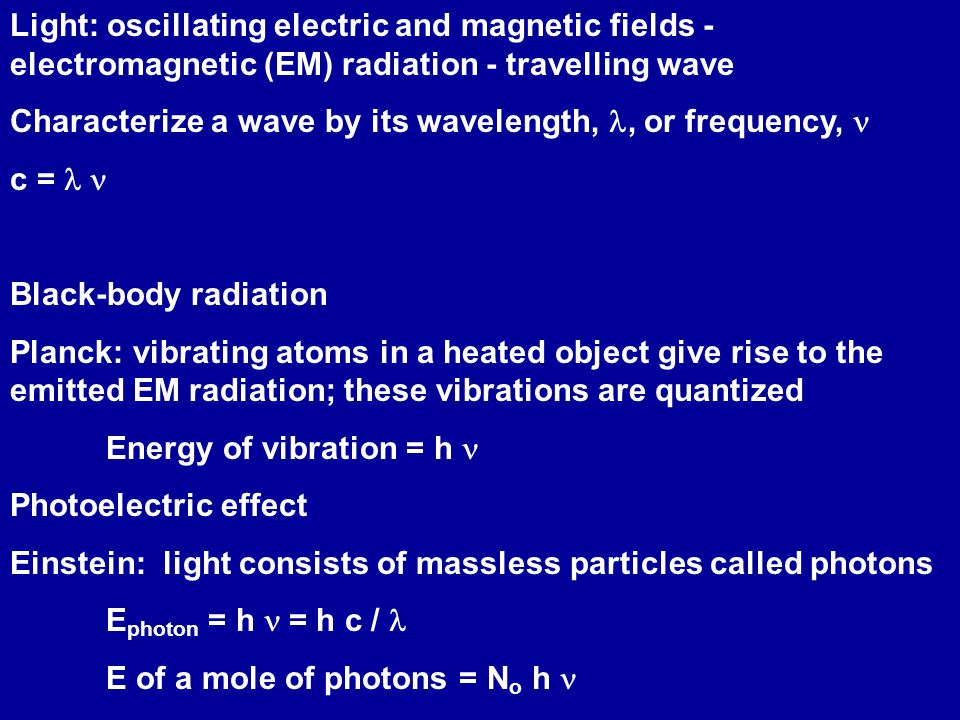 Light: oscillating electric and magnetic fields - electromagnetic (EM) radiation - travelling wave Characterize a wave by its wavelength,, or frequency, c =  Black-body radiation Planck: vibrating atoms in a heated object give rise to the emitted EM radiation; these vibrations are quantized Energy of vibration = h Photoelectric effect Einstein: light consists of massless particles called photons E photon = h  = h c / E of a mole of photons = N o h