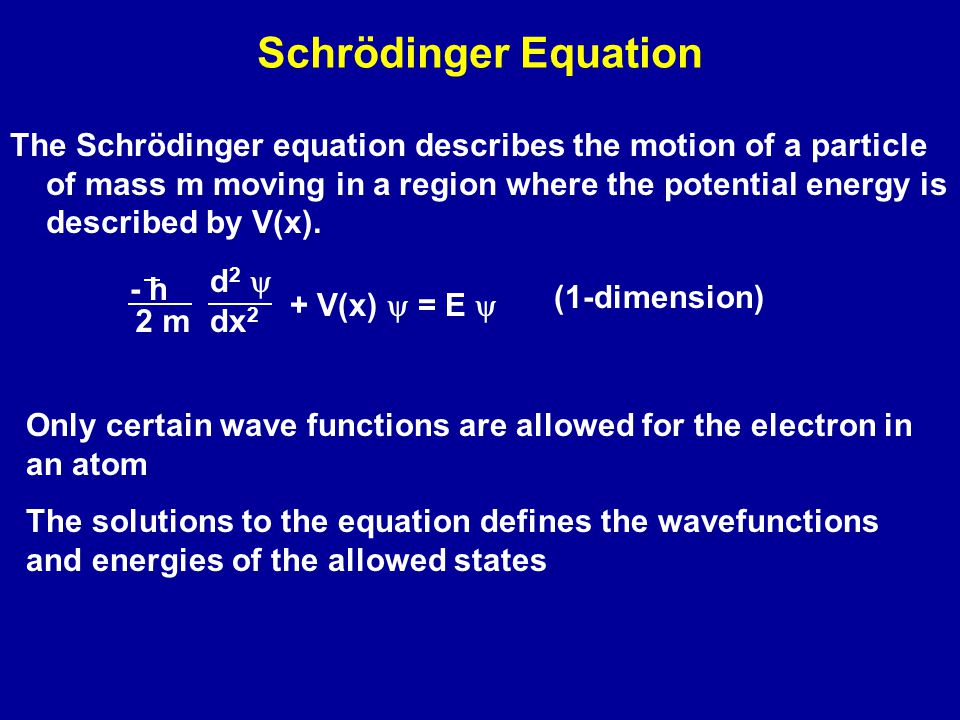 Schrödinger Equation The Schrödinger equation describes the motion of a particle of mass m moving in a region where the potential energy is described by V(x).