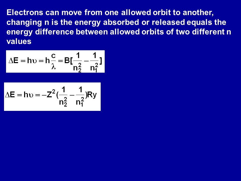 Electrons can move from one allowed orbit to another, changing n is the energy absorbed or released equals the energy difference between allowed orbits of two different n values