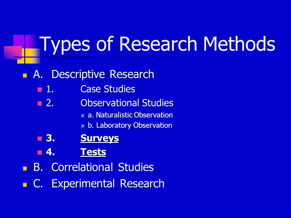 Types of Research Methods A.Descriptive Research 1.Case Studies 2.Observational Studies a.