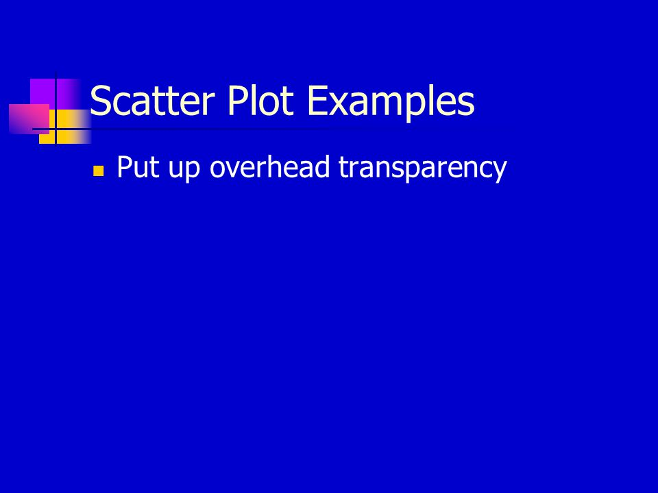 Scatter Plot Examples Put up overhead transparency