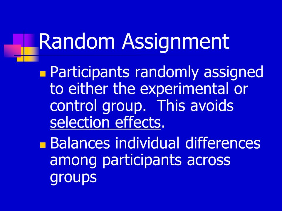 Random Assignment Participants randomly assigned to either the experimental or control group.