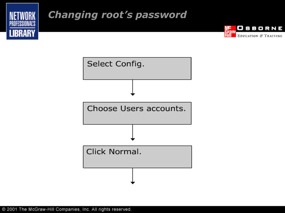 Changing root's password
