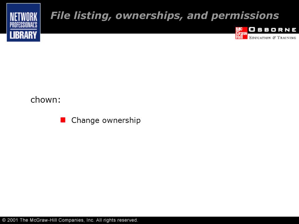 chown: Change ownership File listing, ownerships, and permissions