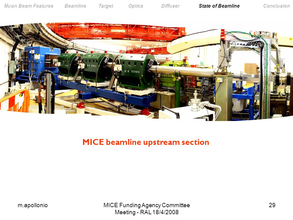 m.apollonioMICE Funding Agency Committee Meeting - RAL 18/4/ Muon Beam Features Beamline Target Optics Diffuser State of Beamline Conclusion MICE beamline upstream section