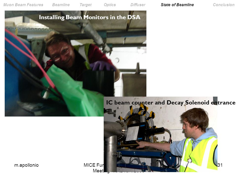 m.apollonioMICE Funding Agency Committee Meeting - RAL 18/4/ Muon Beam Features Beamline Target Optics Diffuser State of Beamline Conclusion IC beam counter and Decay Solenoid entrance Installing Beam Monitors in the DSA