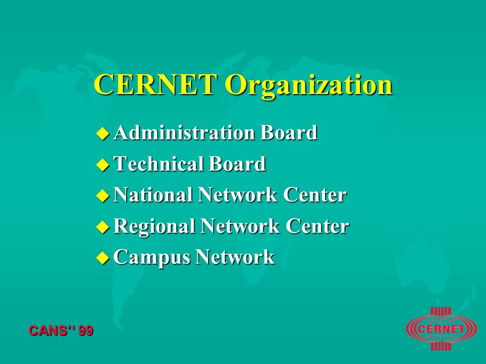 CANS'' 99 CERNET Organization u Administration Board u Technical Board u National Network Center u Regional Network Center u Campus Network