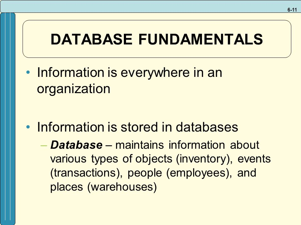 6-11 DATABASE FUNDAMENTALS Information is everywhere in an organization Information is stored in databases –Database – maintains information about various types of objects (inventory), events (transactions), people (employees), and places (warehouses)