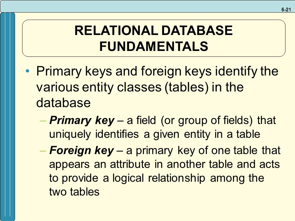 6-21 Primary keys and foreign keys identify the various entity classes (tables) in the database –Primary key – a field (or group of fields) that uniquely identifies a given entity in a table –Foreign key – a primary key of one table that appears an attribute in another table and acts to provide a logical relationship among the two tables RELATIONAL DATABASE FUNDAMENTALS