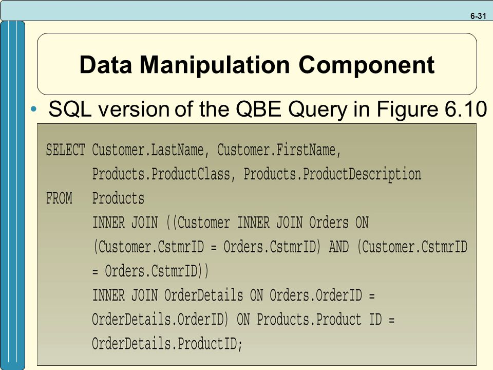 6-31 Data Manipulation Component SQL version of the QBE Query in Figure 6.10