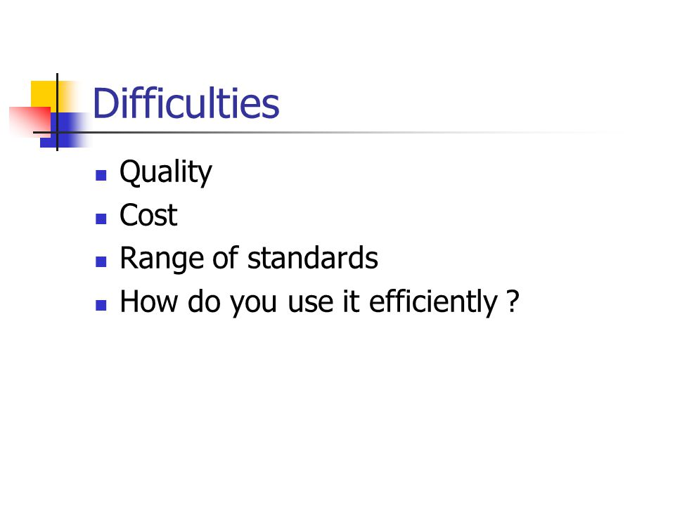 Difficulties Quality Cost Range of standards How do you use it efficiently