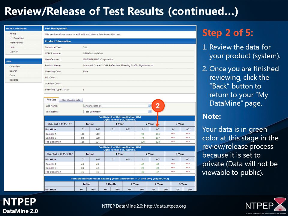 NTPEP DataMine 2.0 NTPEP DataMine 2.0 NTPEP DataMine 2.0:   Step 2 of 5: 1.Review the data for your product (system).
