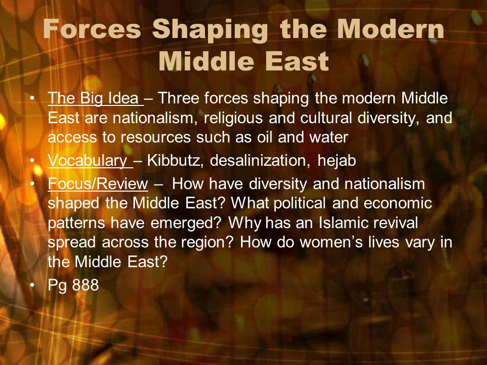 Define and describe the following and their importance to shaping Middle Eastern civilization?