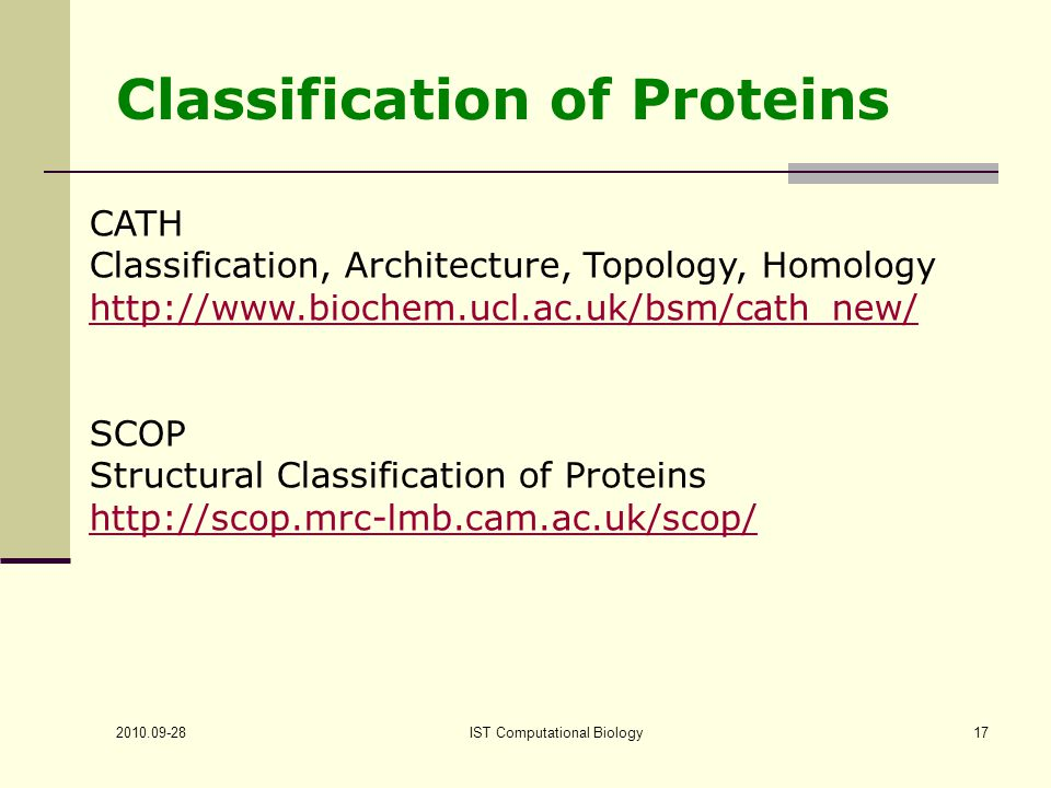 IST Computational Biology17 Classification of Proteins CATH Classification, Architecture, Topology, Homology   SCOP Structural Classification of Proteins