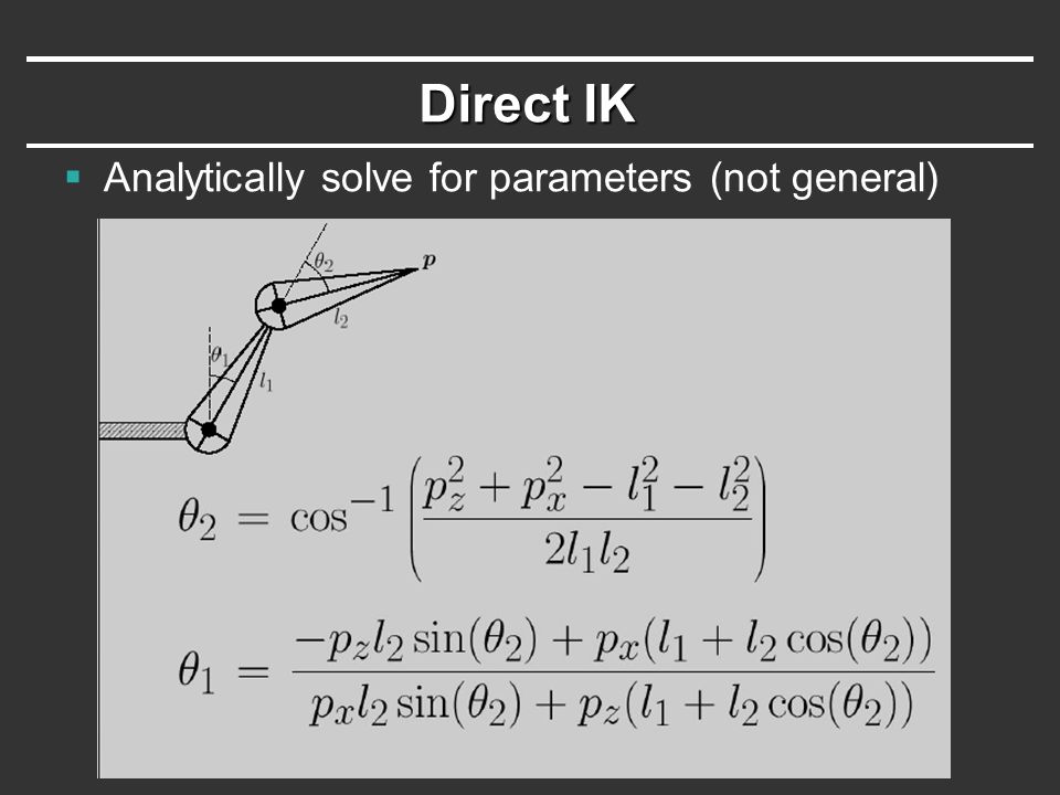Direct IK  Analytically solve for parameters (not general)