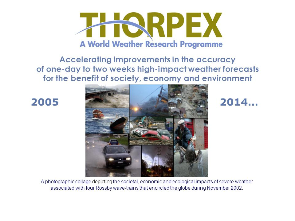Accelerating improvements in the accuracy of one-day to two weeks high-impact weather forecasts for the benefit of society, economy and environment A photographic collage depicting the societal, economic and ecological impacts of severe weather associated with four Rossby wave-trains that encircled the globe during November 2002.