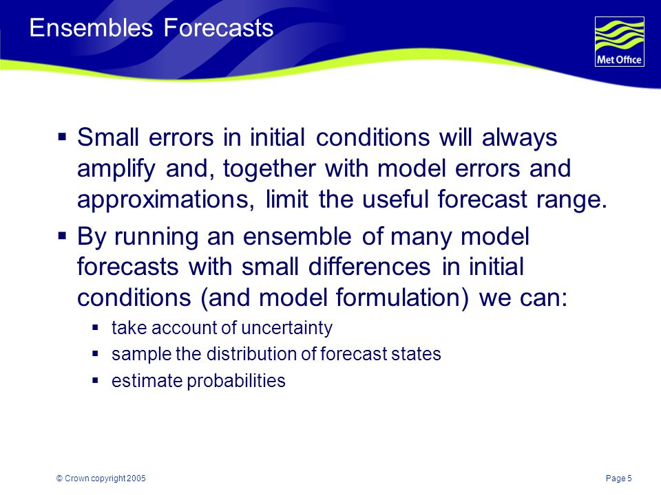 Page 5© Crown copyright 2005 Ensembles Forecasts  Small errors in initial conditions will always amplify and, together with model errors and approximations, limit the useful forecast range.