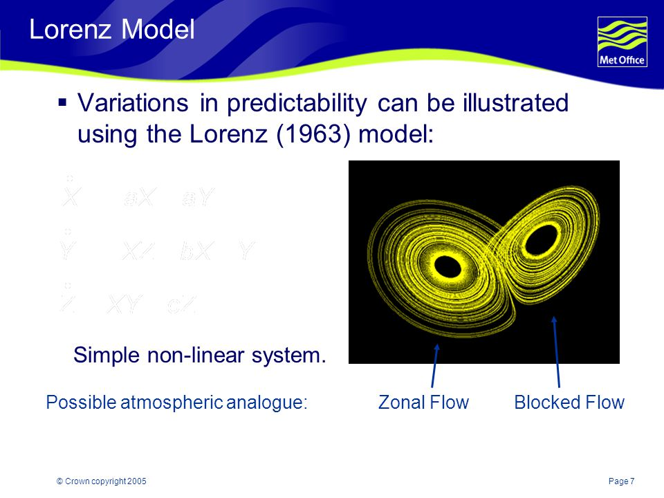 Page 7© Crown copyright 2005 Lorenz Model  Variations in predictability can be illustrated using the Lorenz (1963) model: Simple non-linear system.