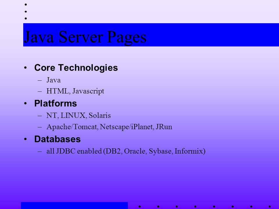 Java Server Pages Core Technologies –Java –HTML, Javascript Platforms –NT, LINUX, Solaris –Apache/Tomcat, Netscape/iPlanet, JRun Databases –all JDBC enabled (DB2, Oracle, Sybase, Informix)