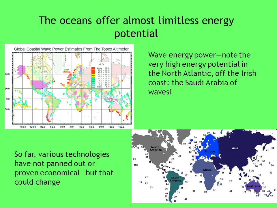 The oceans offer almost limitless energy potential Wave energy power—note the very high energy potential in the North Atlantic, off the Irish coast: the Saudi Arabia of waves.