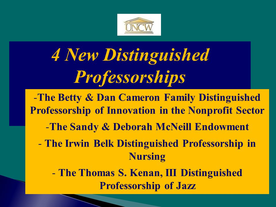 4 New Distinguished Professorships -The Betty & Dan Cameron Family Distinguished Professorship of Innovation in the Nonprofit Sector -The Sandy & Deborah McNeill Endowment - The Irwin Belk Distinguished Professorship in Nursing - The Thomas S.