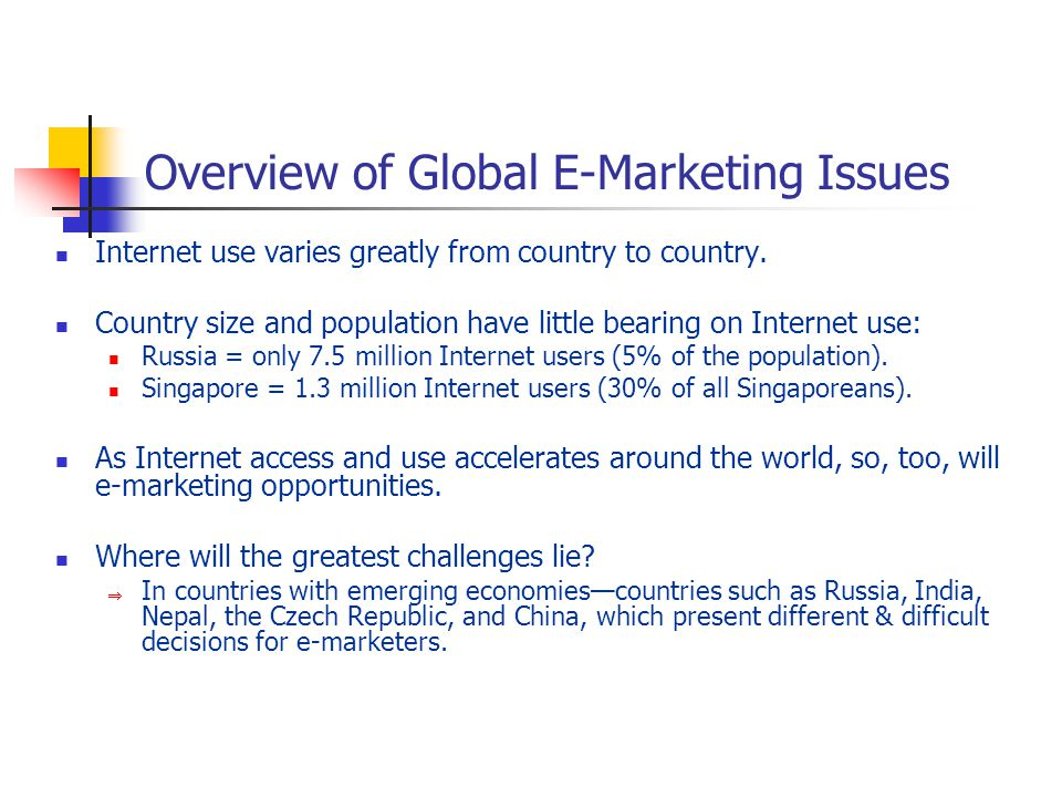 Overview of Global E-Marketing Issues Internet use varies greatly from country to country.