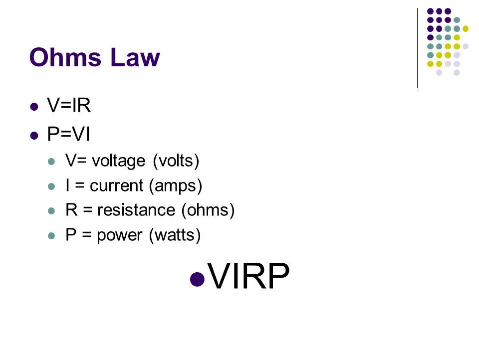 Ohms Law V=IR P=VI V= voltage (volts) I = current (amps) R = resistance (ohms) P = power (watts) VIRP