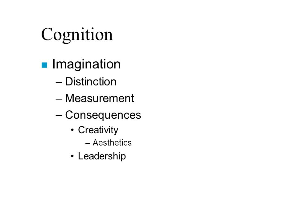 Cognition n Imagination –Distinction –Measurement –Consequences Creativity –Aesthetics Leadership