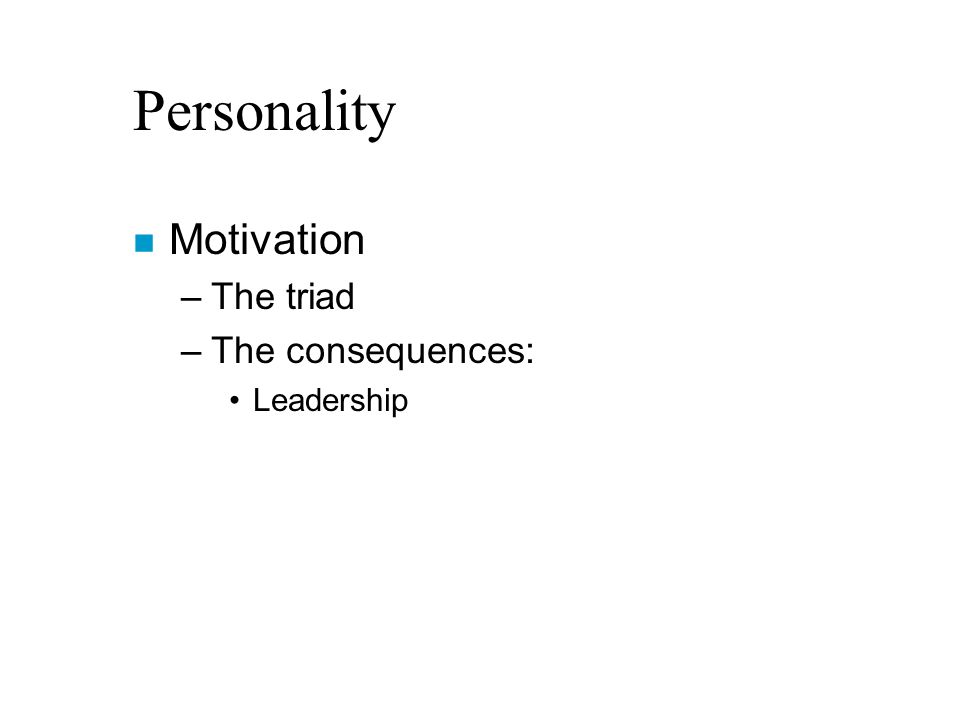 Personality n Motivation –The triad –The consequences: Leadership