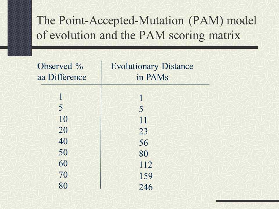 The Point-Accepted-Mutation (PAM) model of evolution and the PAM scoring matrix Observed % aa Difference Evolutionary Distance in PAMs
