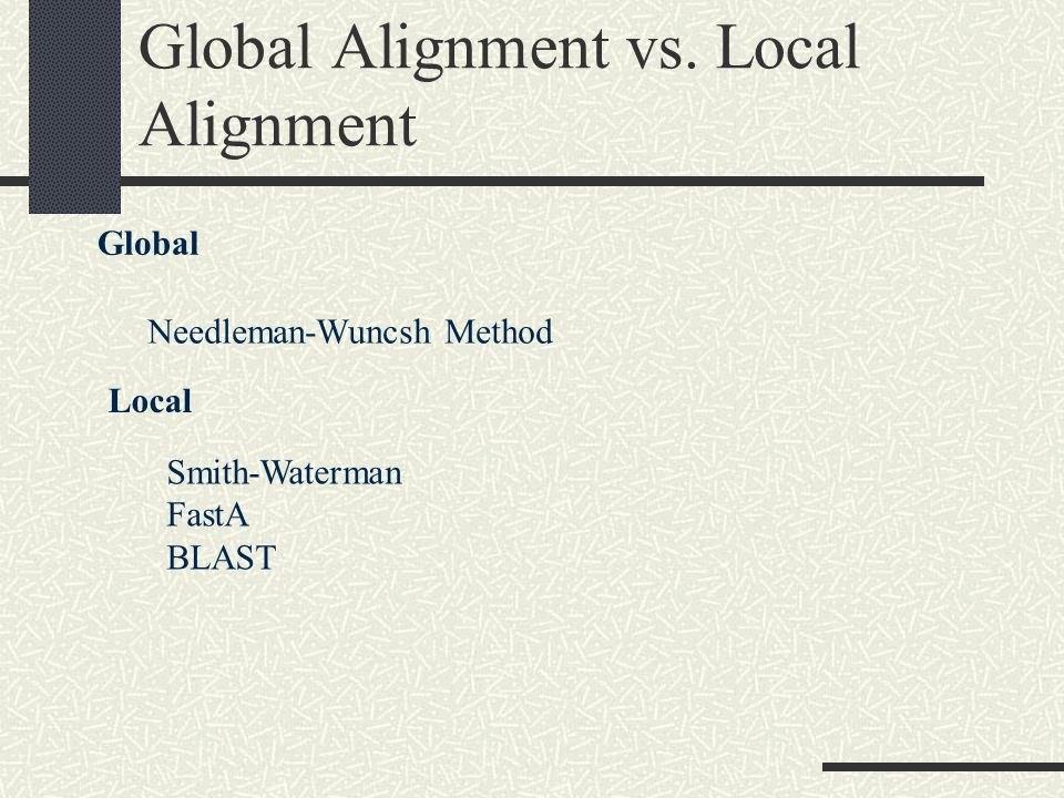 Global Alignment vs.