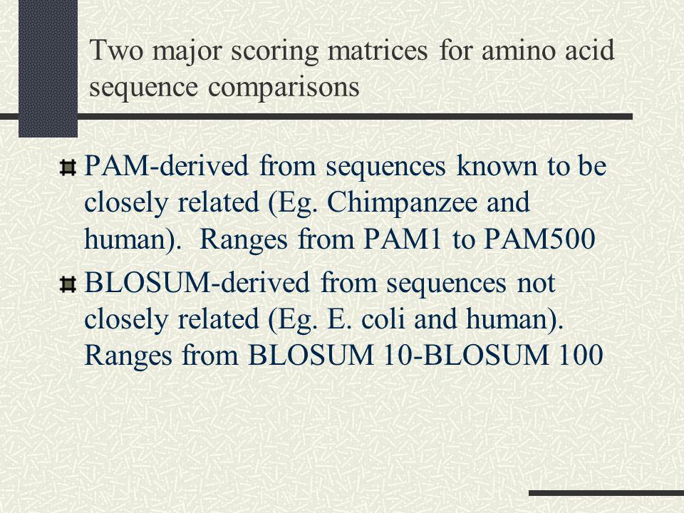 Two major scoring matrices for amino acid sequence comparisons PAM-derived from sequences known to be closely related (Eg.