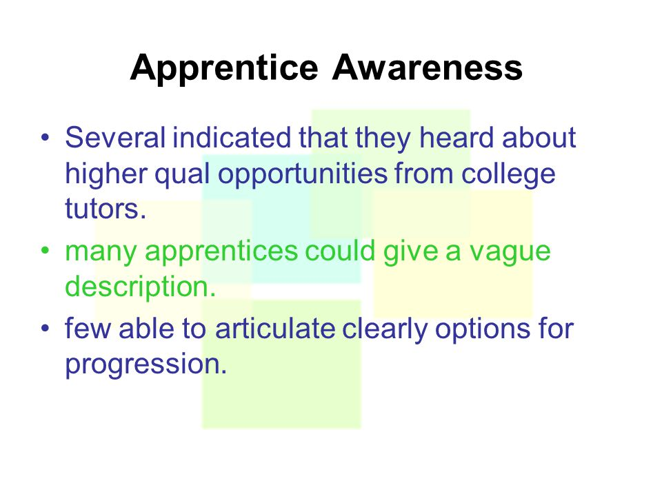 Apprentice Awareness Several indicated that they heard about higher qual opportunities from college tutors.