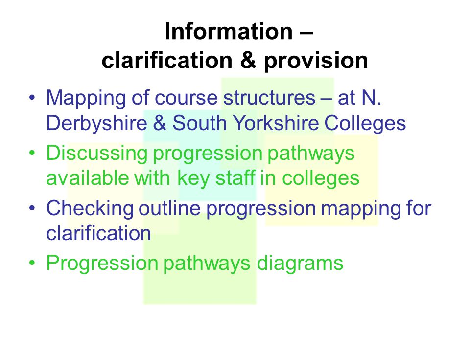Information – clarification & provision Mapping of course structures – at N.