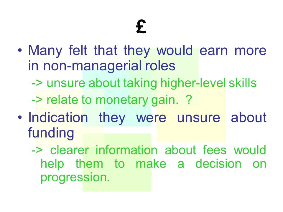 £ Many felt that they would earn more in non-managerial roles -> unsure about taking higher-level skills -> relate to monetary gain.