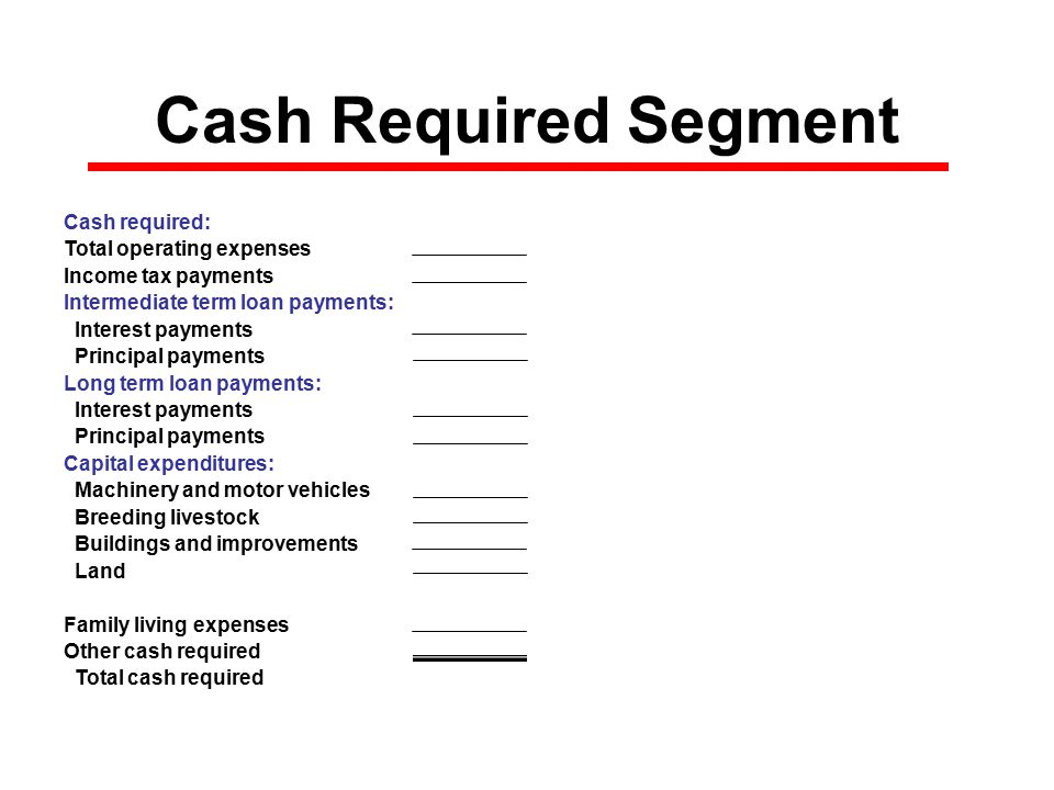 Cash Required Segment Cash required: Total operating expenses$0 Income tax payments$0 Intermediate term loan payments: Interest payments$0 Principal payments$0 Long term loan payments: Interest payments$0 Principal payments$0 Capital expenditures: Machinery and motor vehicles$0 Breeding livestock$0 Buildings and improvements$0 Land$0 Family living expenses$0 Other cash required$0 Total cash required$0