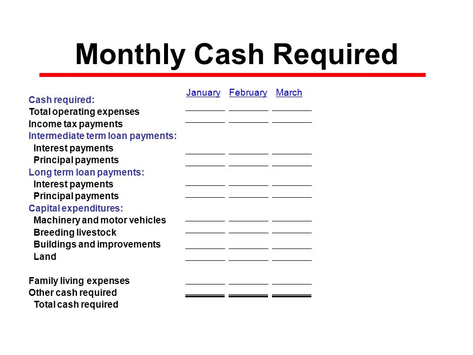 Monthly Cash Required Cash required: Total operating expenses$0 Income tax payments$0 Intermediate term loan payments: Interest payments$0 Principal payments$0 Long term loan payments: Interest payments$0 Principal payments$0 Capital expenditures: Machinery and motor vehicles$0 Breeding livestock$0 Buildings and improvements$0 Land$0 Family living expenses$0 Other cash required$0 Total cash required$0 January February March