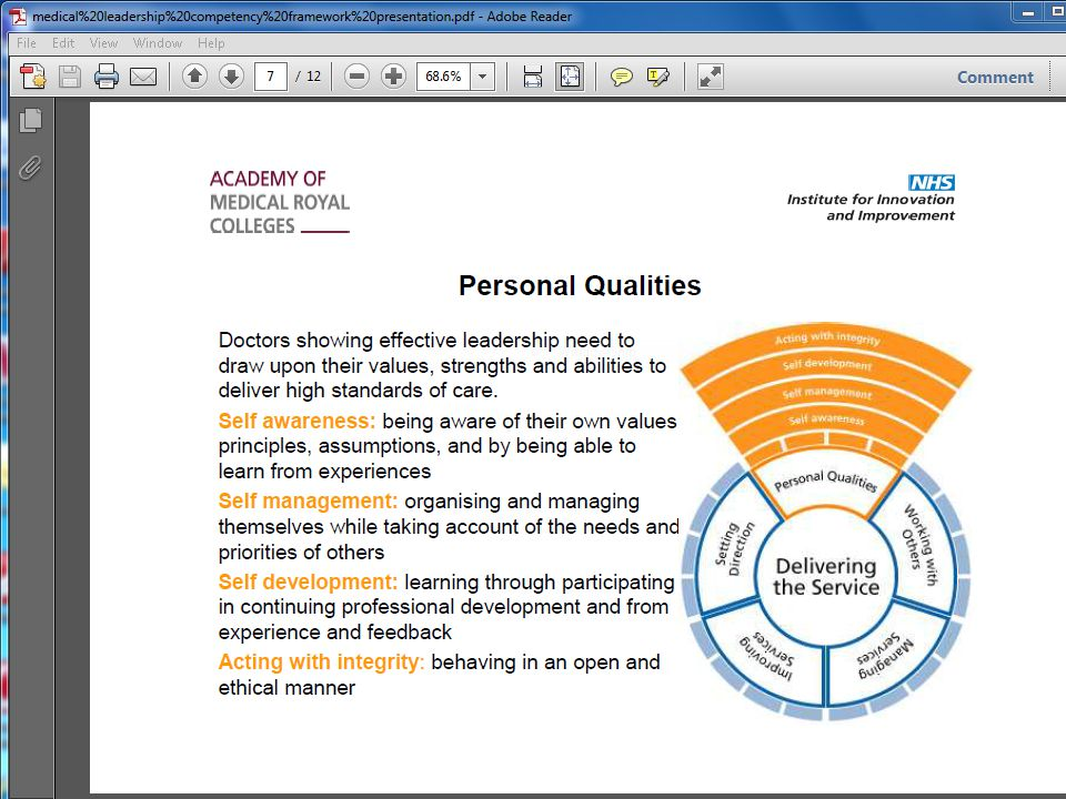 Personal qualities - such as developing self awareness and acting with integrity.