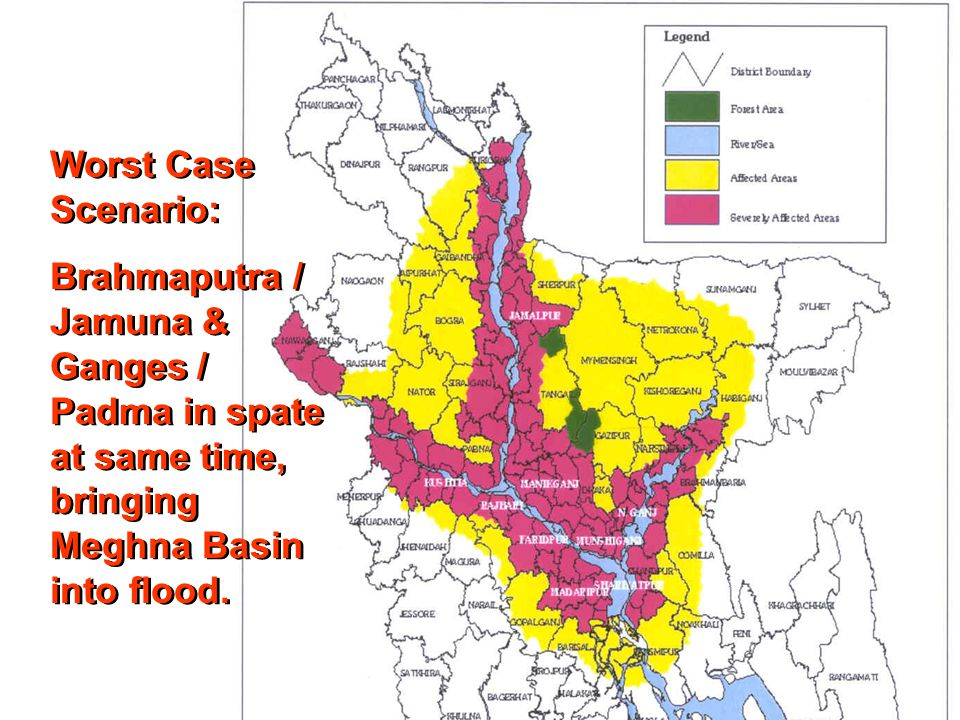 DER Sub-Group Worst Case Scenario: Brahmaputra / Jamuna & Ganges / Padma in spate at same time, bringing Meghna Basin into flood.