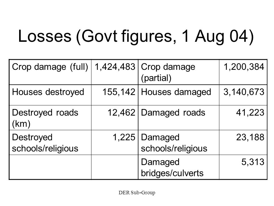 DER Sub-Group Losses (Govt figures, 1 Aug 04) Crop damage (full)1,424,483Crop damage (partial) 1,200,384 Houses destroyed155,142Houses damaged3,140,673 Destroyed roads (km) 12,462Damaged roads41,223 Destroyed schools/religious 1,225Damaged schools/religious 23,188 Damaged bridges/culverts 5,313