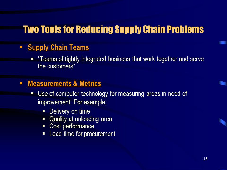 15 Two Tools for Reducing Supply Chain Problems  Supply Chain Teams  Teams of tightly integrated business that work together and serve the customers  Measurements & Metrics  Use of computer technology for measuring areas in need of improvement.