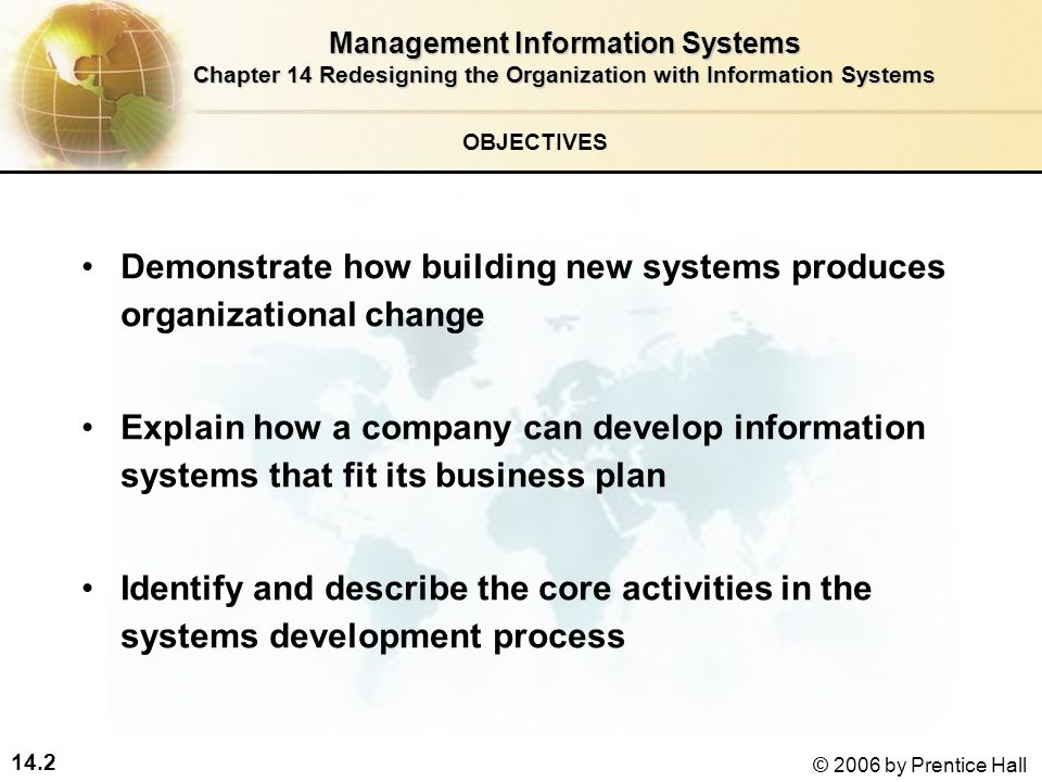 14.2 © 2006 by Prentice Hall Demonstrate how building new systems produces organizational change Explain how a company can develop information systems that fit its business plan Identify and describe the core activities in the systems development process Management Information Systems Chapter 14 Redesigning the Organization with Information Systems OBJECTIVES
