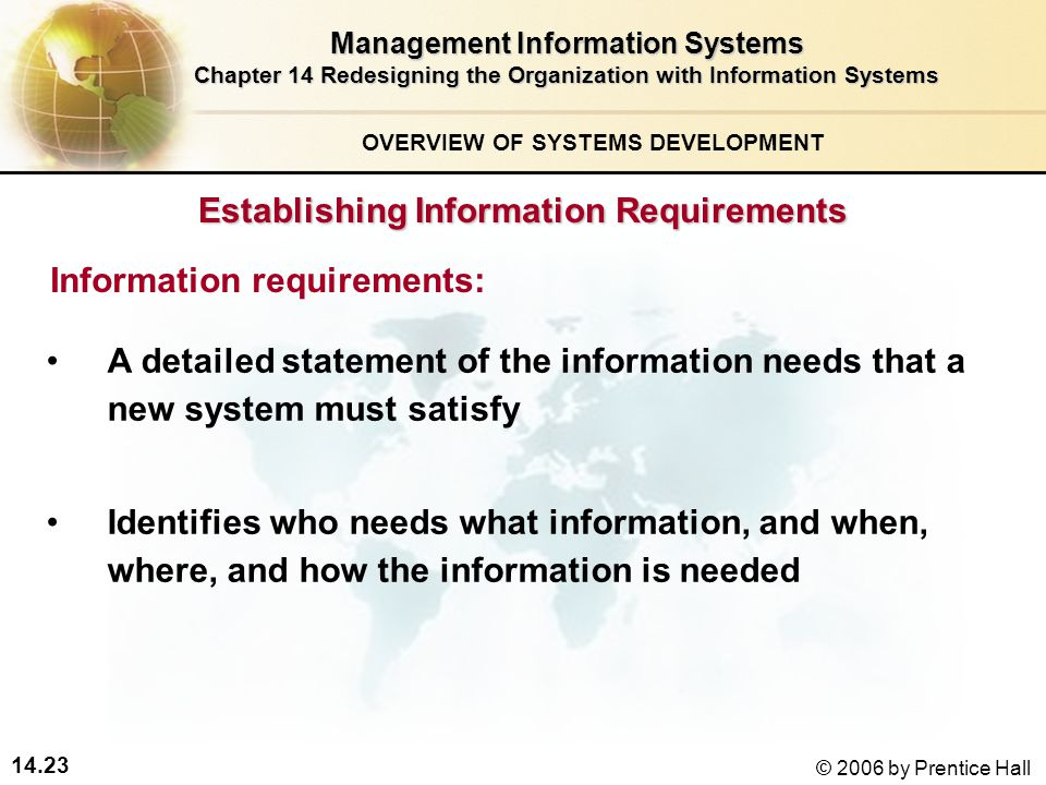 14.23 © 2006 by Prentice Hall Management Information Systems Chapter 14 Redesigning the Organization with Information Systems A detailed statement of the information needs that a new system must satisfy Identifies who needs what information, and when, where, and how the information is needed Information requirements: Establishing Information Requirements OVERVIEW OF SYSTEMS DEVELOPMENT