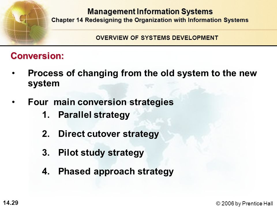 14.29 © 2006 by Prentice Hall Management Information Systems Chapter 14 Redesigning the Organization with Information Systems Conversion: 1.Parallel strategy 2.Direct cutover strategy 3.Pilot study strategy 4.Phased approach strategy OVERVIEW OF SYSTEMS DEVELOPMENT Process of changing from the old system to the new system Four main conversion strategies