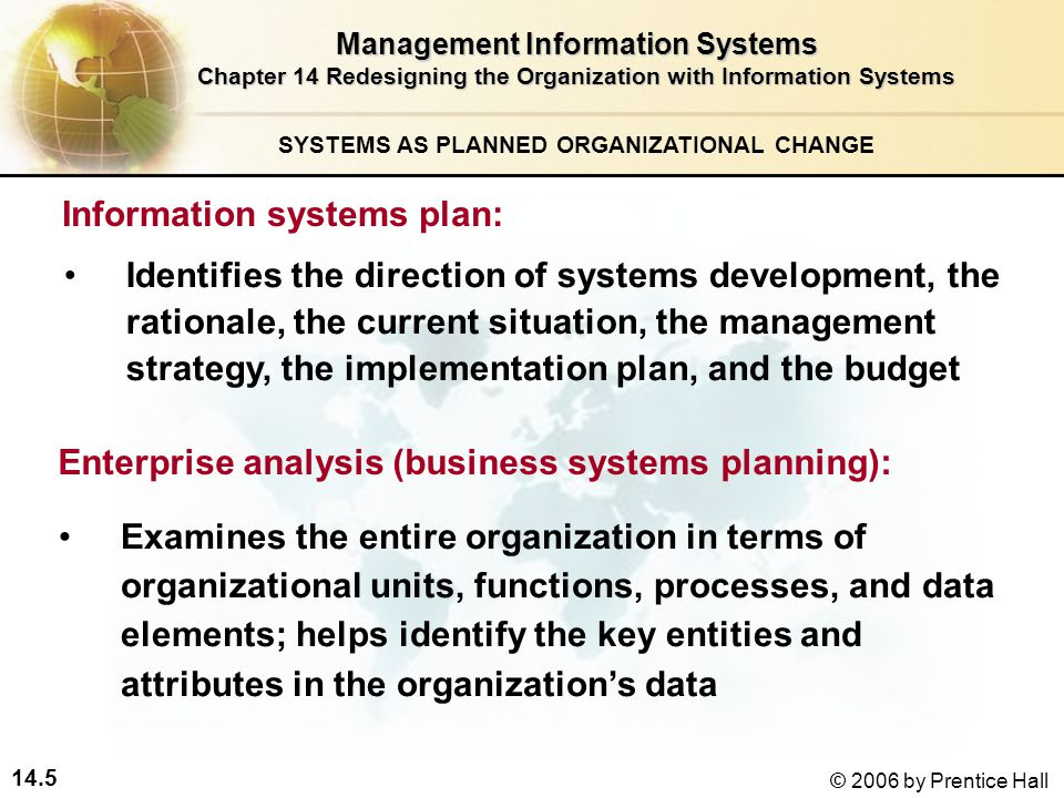 14.5 © 2006 by Prentice Hall SYSTEMS AS PLANNED ORGANIZATIONAL CHANGE Identifies the direction of systems development, the rationale, the current situation, the management strategy, the implementation plan, and the budget Management Information Systems Chapter 14 Redesigning the Organization with Information Systems Information systems plan: Examines the entire organization in terms of organizational units, functions, processes, and data elements; helps identify the key entities and attributes in the organization's data Enterprise analysis (business systems planning):