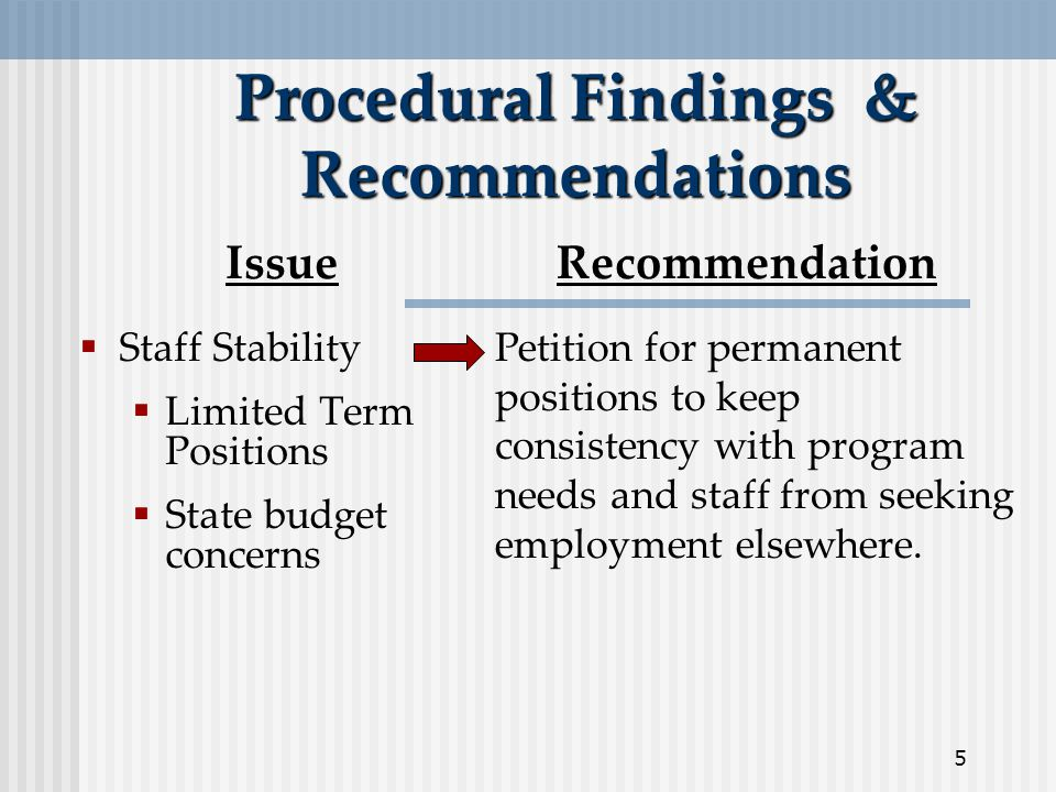 5 Procedural Findings & Recommendations  Staff Stability  Limited Term Positions  State budget concerns IssueRecommendation Petition for permanent positions to keep consistency with program needs and staff from seeking employment elsewhere.