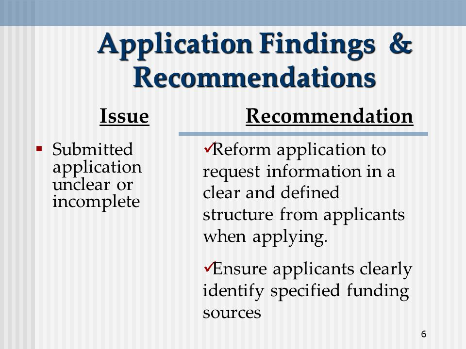 6 Application Findings & Recommendations  Submitted application unclear or incomplete IssueRecommendation Reform application to request information in a clear and defined structure from applicants when applying.